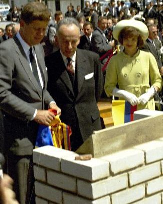 The Kennedys with Camargo during an Alliance for Progress ceremony during their trip to Bogota, Colombia.