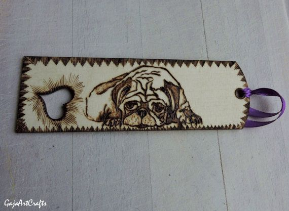 Lying down pug wooden bookmark Wooden bookmark for pug and