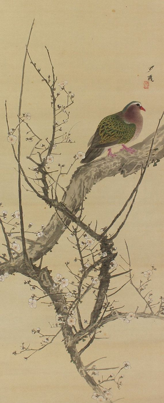 Antique Japanese Art Bird and Flower Painting White Ume Tree Japanese Hanging Scroll Kakejiku