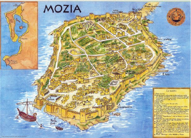 In front of the piece of coast which unites Trapani with Marsala, in the Western part of Sicily, there are a group of islands which form part of the Stagnone: a coastal lagoon where one can visit the remains of the Phoenician city of Mozia, founded in the 8th Century BC, for commercial control on the Western coast.