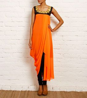 Orange Georgette and Dupion Silk Dress