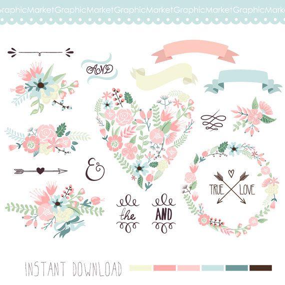 Wedding Floral clipart, Digital Wreath, Floral Frames, Flowers, Arrows Clip art scrapbooking, wedding invitations, Ribbons, Banners, Heart