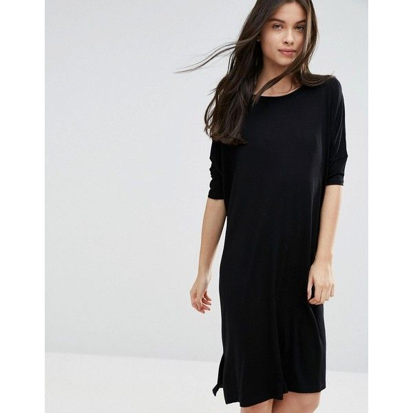 ASOS PETITE Oversized T-shirt Dress with Curved Hem (44 CAD) ❤ liked on Polyvore featuring dresses, black, petite, jersey dresses, oversized t shirt dress, tee dress, petite dresses and t-shirt dresses