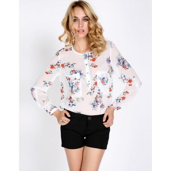 New Fashion Women's Chiffon Floral Print T-Shirt Blouse Long Sleeve Tops Vintage