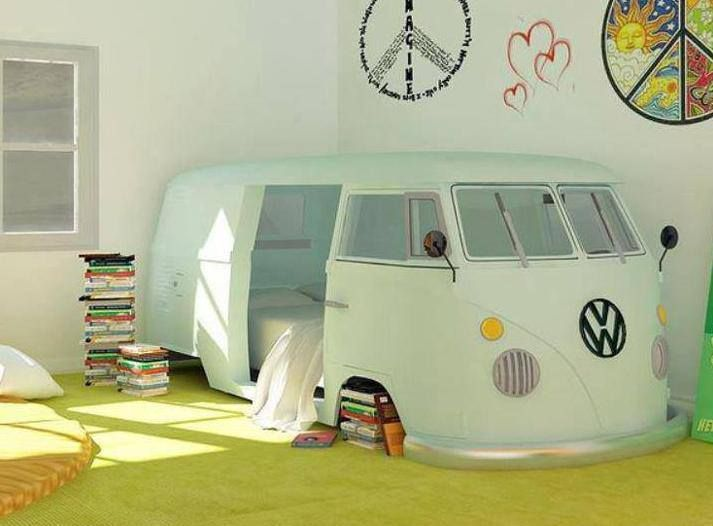 WOuld you love to sleep in this awesome Kombie Hippi Camper Where You Sleep Inside the House? I would definitely! Soooo cuuuutttteeee!!! :) | Happy House and Garden Social Site