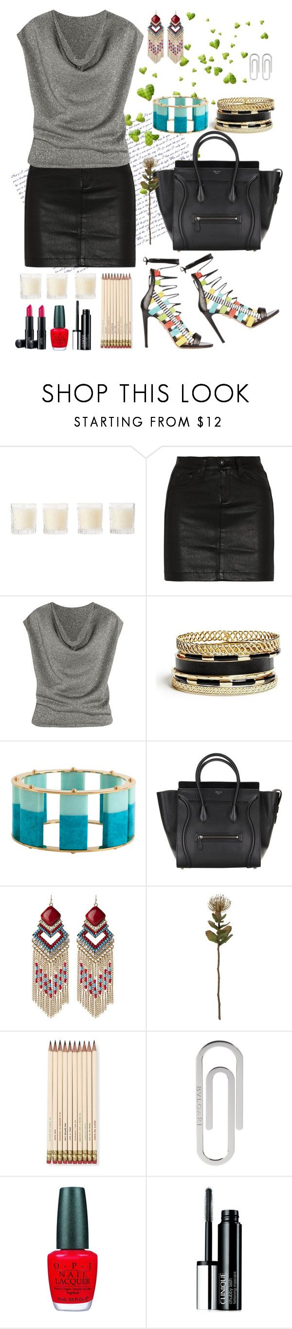 """""""Office"""" by mary-domenech on Polyvore featuring moda, Shabby Chic, rag & bone/JEAN, Yves Saint Laurent, GUESS, Lele Sadoughi, Laura Geller, Natasha, Crate and Barrel y Kate Spade"""