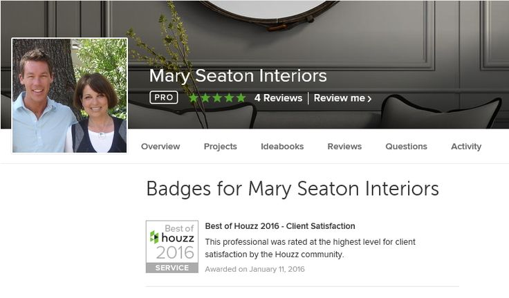 Our own Mary Seaton has done it again! Voted by the Houzz community as a winner of our Best of Houzz 2016 award!