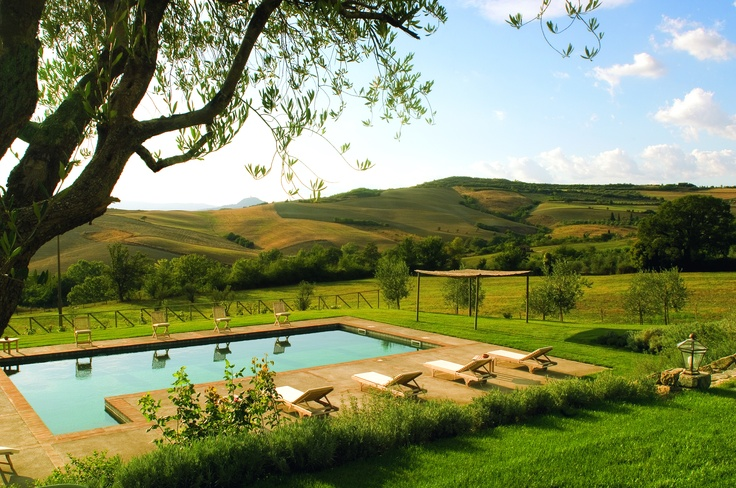Beautiful view of the Tuscan landscape from your porch and pool at Campo dell'Amato. http://www.facebook.com/HostedVillas