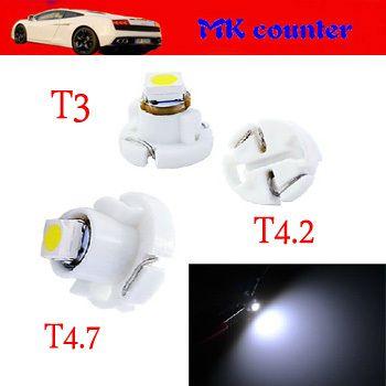 500PCS X T3 T4.2 T4.7 1 SMD 1210 3528 LED 1SMD B8.5D Car Interior Dashboard Light Bulbs LED Auto Bulb LED Car Lights White blue