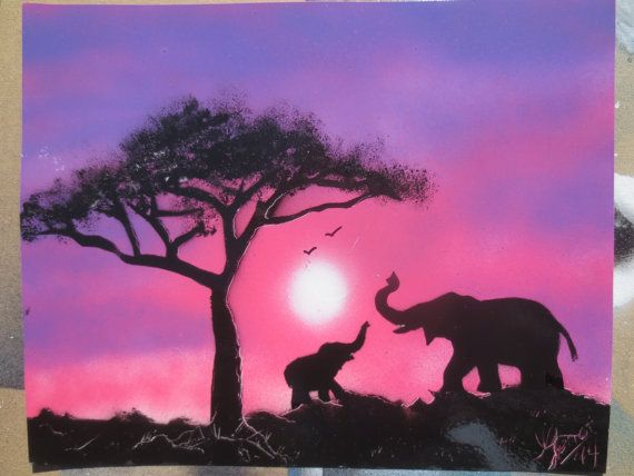 Elephants at dusk painting. Hey, I found this really awesome Etsy listing at https://www.etsy.com/listing/195680827/purple-elepant-and-baby-at-dusk-fantasy