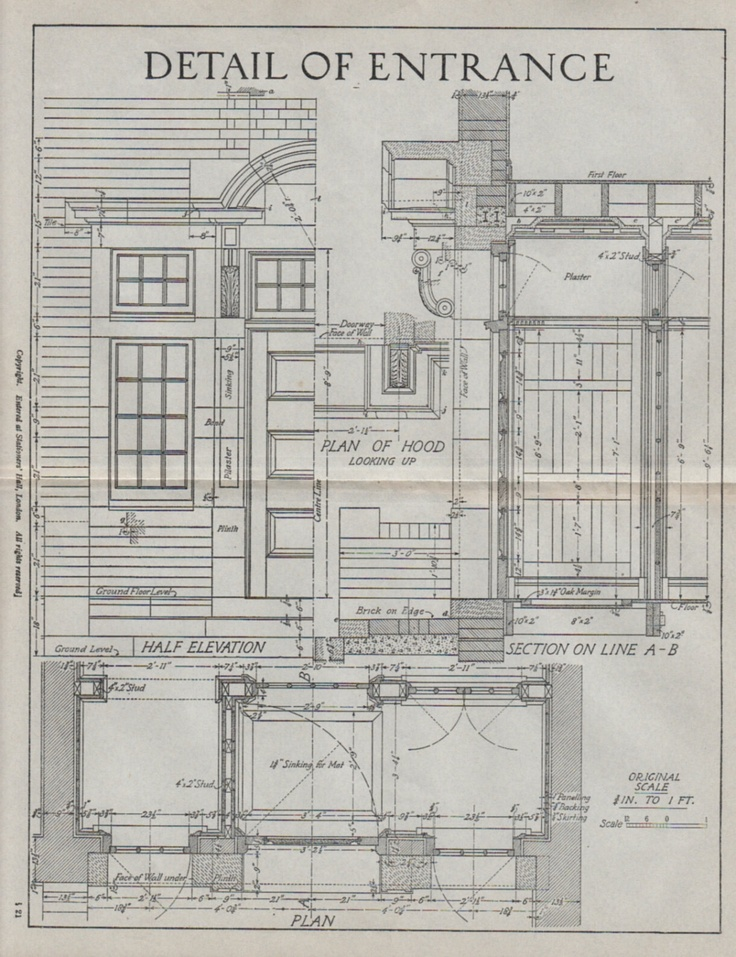 Vintage architectural drawing detail of entrance for Architecture blueprints