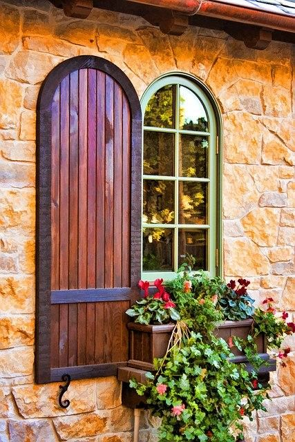 arched view shutter doorWindowboxes, Windows Boxes, Doors Windows, Gardens, Windows Shutters, Flower, Hanging Baskets, Window Boxes, Arches Windows