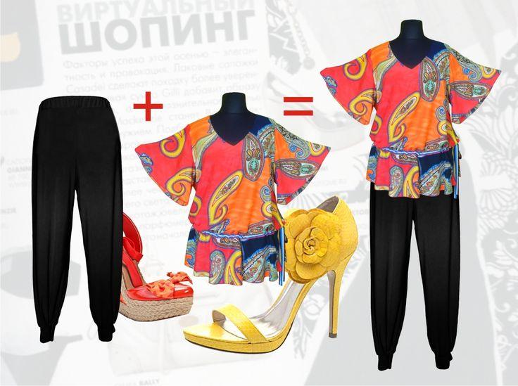 """55$ Летний брючный костюм для полных женщин: блузка свободного покроя из штапеля с рукавами """"колокольчик"""" + брюки-чёрные-шаровары Артикул 653, р50-64 Женские костюмы большие размеры  Женские костюмы с брюками большие размеры  Летний брючный костюм большие размеры  Нарядные женские брючные костюмы большие размеры"""