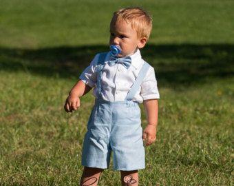 Traje de niño de bautismo bautizo traje de portador de anillo de trajes ropa bebé niño traje lino bebé niño luz azul tirantes juego bebé muchacho formal