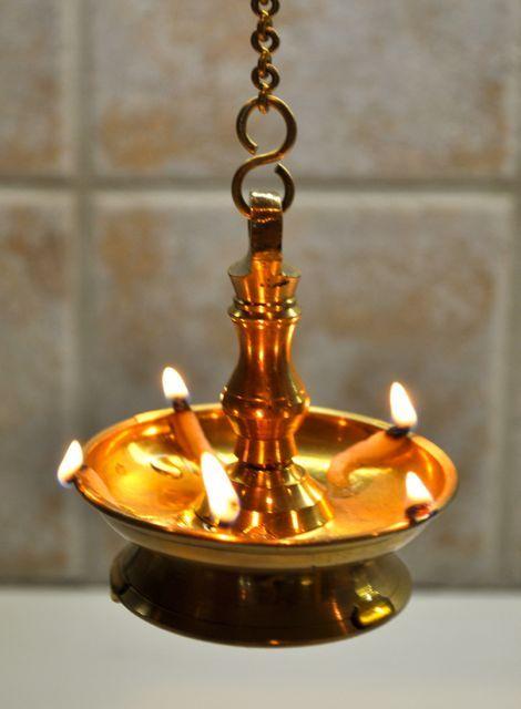 Brass lights used during Vishu in Kerala.                                                                                                                                                                                 More