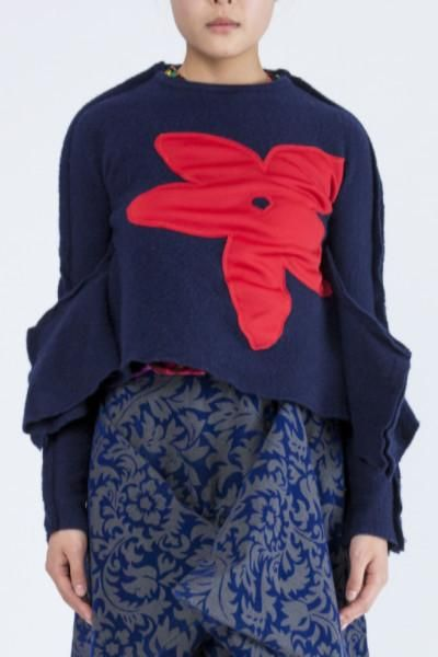 COMME des GARÇONS navy 2D boiled wool top with red flower from the 2012 Autumn/Winter collection.