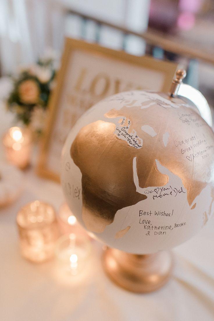 Sign a globe guest book! Cute wedding reception idea.