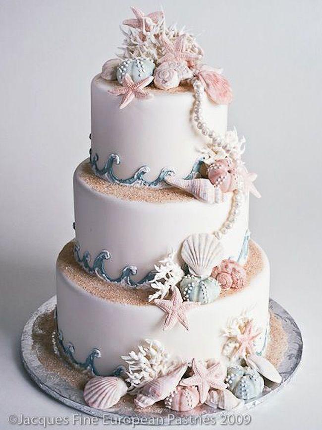 20 Elegant Beach Wedding Cakes | SouthBound Bride | Image: Jacques Fine European Pastries via Confetti
