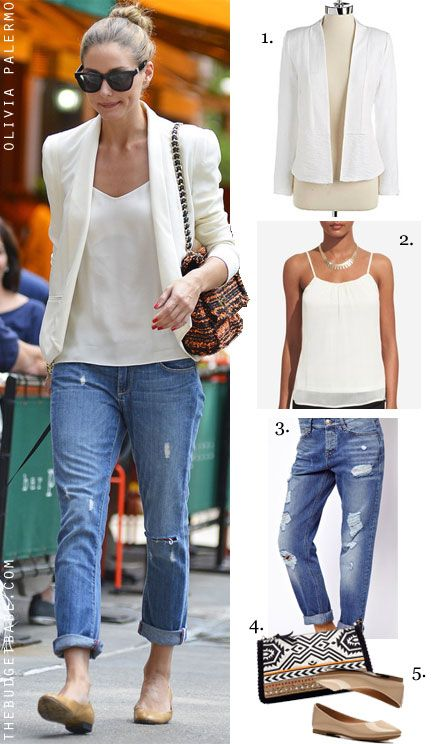 Olivia Palermo's white blazer and camisole with boyfriend jeans and tan flats