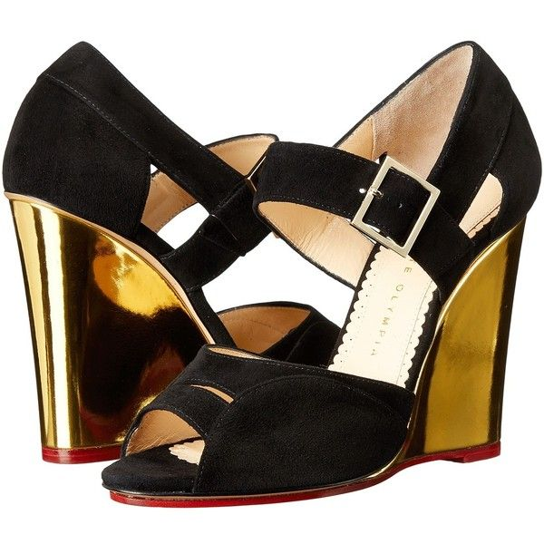 Charlotte Olympia Marcella 100 (Black/Gold Suede/Metallic Calfskin)... ($895) ❤ liked on Polyvore featuring shoes, sandals, wedge sandals, black wedge sandals, suede wedge sandals, black wedge shoes and peep toe wedge sandals