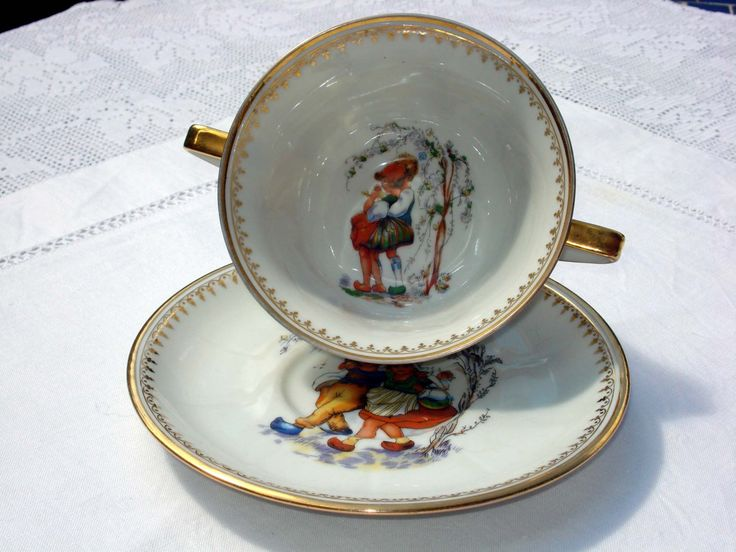 Porcelain cup with two handles by R. Bonhomme, Limoges, France by (null) on Etsy (null)