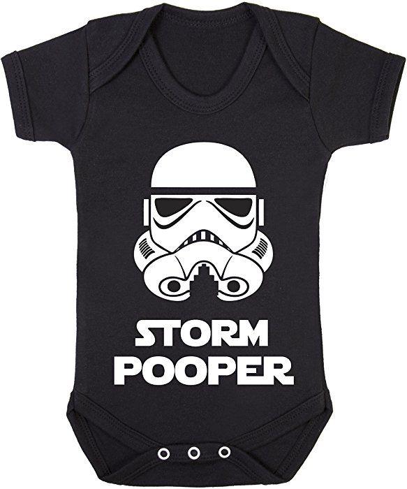 Storm Pooper (Full White helmet on black) Cute funny Star Wars Babygrow bodysuit (0-3 months): Amazon.co.uk: Clothing