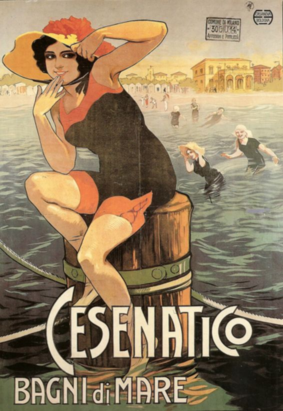 By Roberto Franzoni (1882-1960, Italy), 1914, Cesenatico Bagni di Mare, Printer: Chappuis, Bologna. (Tourism poster for the resort of Cesenatico, Italy, 'Swimming in the sea'.)