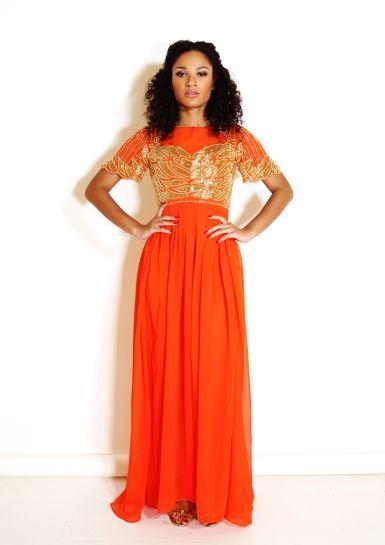Bright Orange Maxi Dress with Gold Embellished Bodice found on the Virgos Lounge