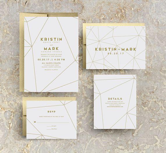 Gold Geometric Wedding Invitation, Gold Wedding, Gold Invites, Modern, Geometric Invitations, Geometric Invites, Gold Geometric, SAMPLE