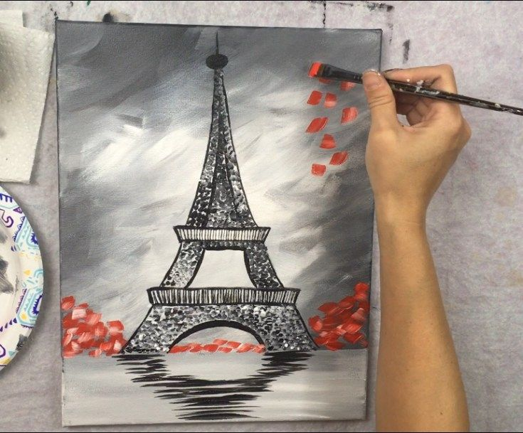 How To Paint An Eiffel Tower Eiffel Tower Painting Step By Step Painting Kids Canvas Art
