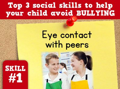 Eye contact with peers can help a child avoid bullying. Visit http://sbsaba.com for more ways to help your child to avoid bullying.