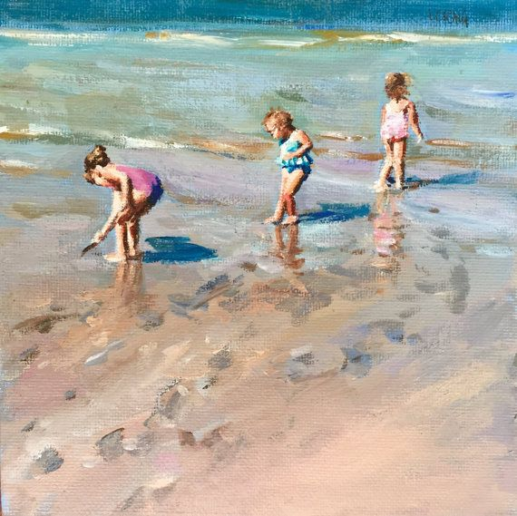 Original Acrylic Painting Beach Kids 3 6x6