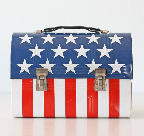 Vintage American Flag Lunch Pail, Red White and Blue Aladdin Lunch Box