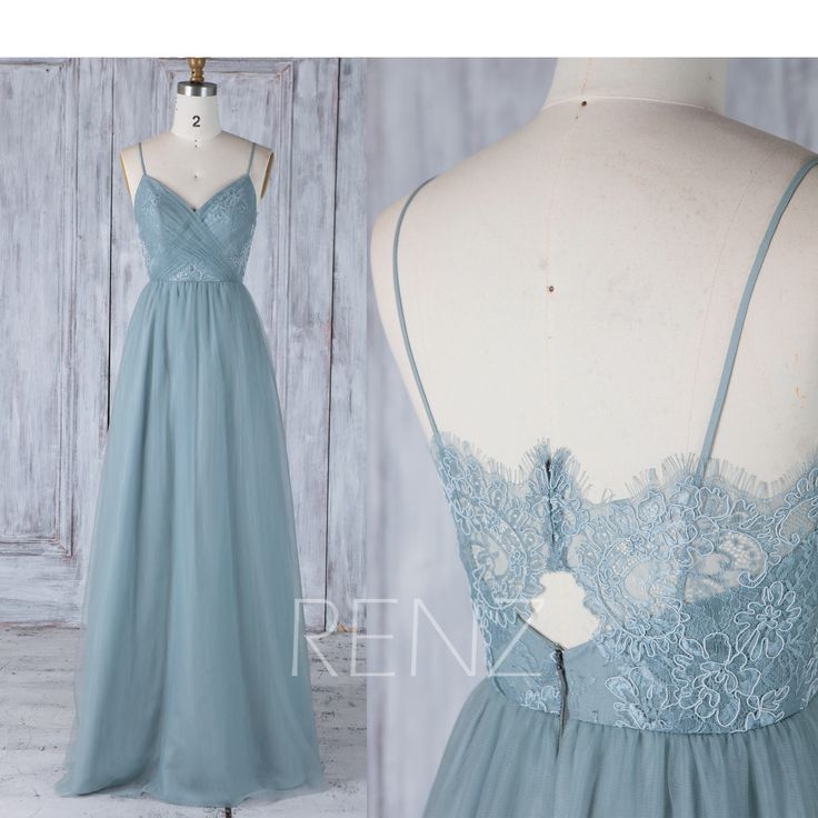 Bridesmaid Dress Dusty Blue Spaghetti Straps Tulle Wedding Dress,Lace Ruched Bod…