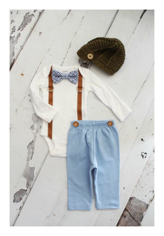 Newborn Baby Boy Coming Home Outfit Set up to 4 Items. Bow Tie and Suspender Bodysuit, Navy Blue Pants & Knit Newsboy Hat Easter Tie Outfit