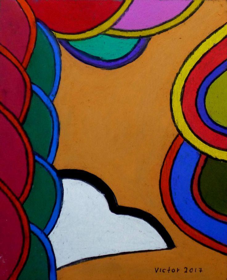 Abstrakt 523, pastell. Abstract 523, pastel.