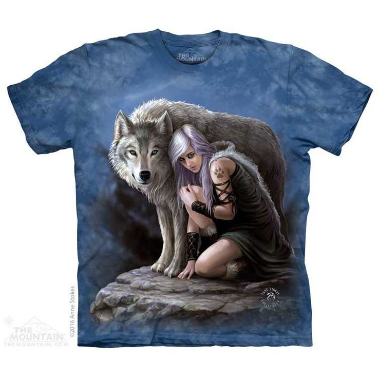 Wolven Protector T-shirt. This fantasy t-shirt for The Mountain by UK artist Anne Stokes features a dire wolf protecting a young woman.