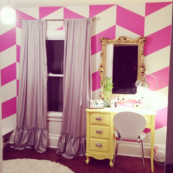 my little girls room.  herringbone chevron wall, diy curtains and a refinished yellow desk. My favorite room in the house!!
