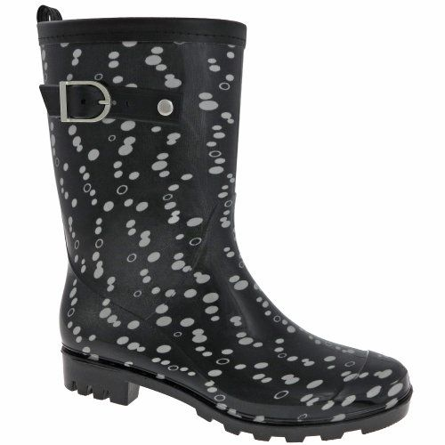 Capelli New York Shiny Scrambled Dots Printed Ladies Short Jelly Rain Boot Black Combo 10 >>> To view further for this item, visit the image link.