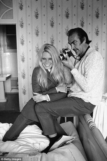 "Brigitte Bardot and Sean Connery at  Deauville, France • They appeared together in the movie ""Shalako"" directed by Edward Dmytryk (1968)"