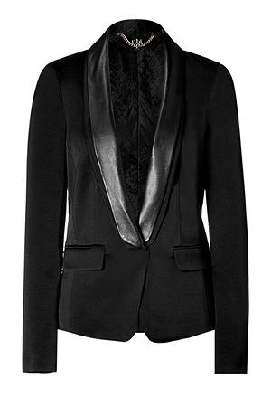 TIBI  Black tuxedo jacket with leather trim