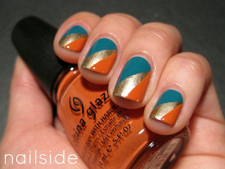 I always love Nailside's nails and tutorials. She does a wonderful job at painting her nails - Divergence: Blue Gold, Nail Polish, Tape Mani, Nail Design, Art Nailside, Nail Art, Color Combination, Divergence Nails