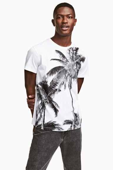 Tričko s motivem - Bílá/palmy - MUŽI | H&M CZ 1