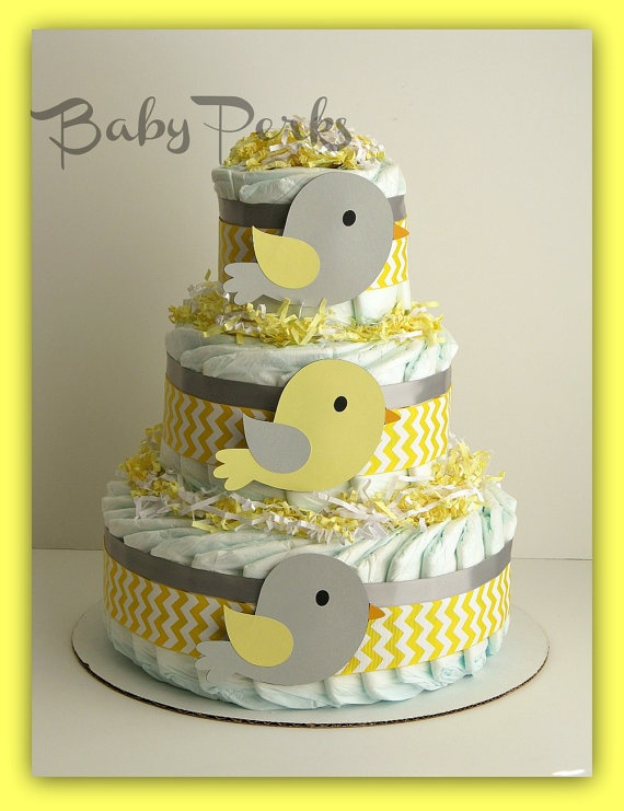 Yellow and Grey Diaper cake   Bird Diaper Cake by MsPerks on Etsy, $49.00