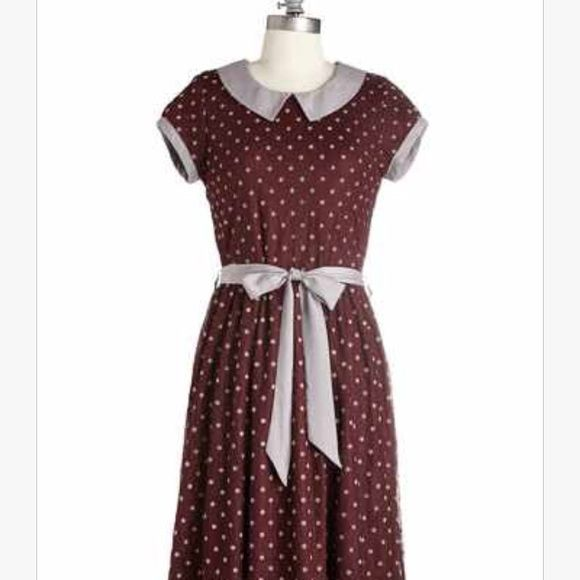 Modcloth Winsome Weekend dress in Burgundy M Very cute Peter Pan collar dress from Modcloth in a M. Burgundy with silver belt, collar and polka dots! ModCloth Dresses