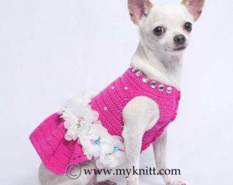 Pink Crochet Dog Wedding Dress Striped White Fluffy Skirt