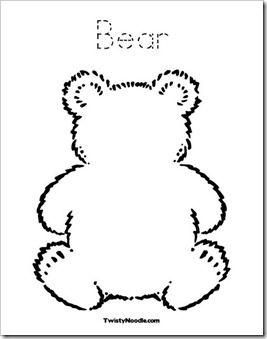 """bear outline  Finger paint for """"Brown Bear Brown Bear"""""""
