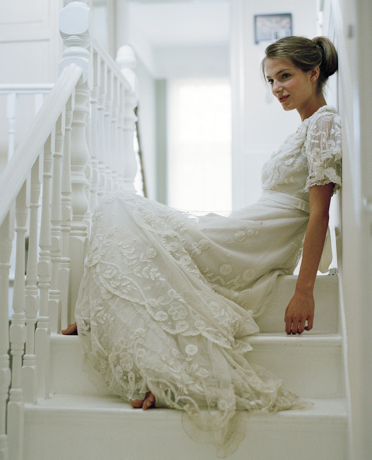 62 best vintage wedding dresses images on pinterest short wedding white room with white stairs with a beautiful woman in a white vintage lace dress junglespirit Choice Image