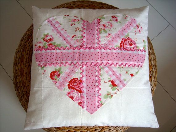 Handmade square cushion cover - pink heart Union Jack flag applique - Cath Kidston fabric
