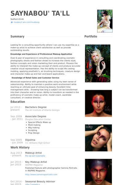 makeup artist resume example - Example Of Artist Resume